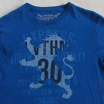 Express Men's Short Sleeve Crew Neck Bright Blue Graphic T Shirt - Small Photo