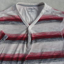 Express Men's Short Sleeve Henley T Shirt - Red White & Blue Striped - Large Photo