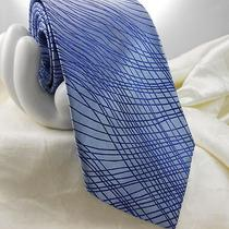 Express  Men's Silk Tie Iridescent Electric Blue Stripe Abstract 3 3/4