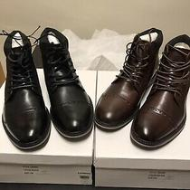 Express Mens Size 12 Black and Brown Cap Toe Brogue Lace Up Boots Brand New 2 Photo