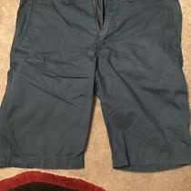 Express Mens Size 32 Flat Front Cotton Shorts Navy Blue Photo