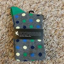 Express Men's Socks 8-12 Green/blue/grey Polka Dots New With Tags Photo