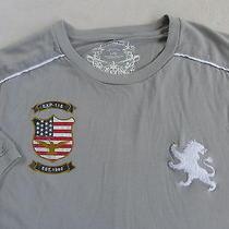 Express Men's Soft Cotton Short Sleeve Crew Neck Light Gray Graphic T Shirt - L Photo