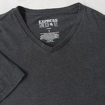 Express Men's Stretch Cotton S/s v-Neck Solid Dark Gray T Shirt - Large Photo