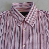 Express Men's Stretch Modern Fit L/s Button Down Red Striped Shirt - M (15-15.5) Photo