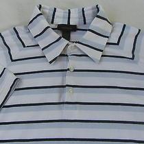Express Men's Stretch S/s Polo Shirt - White Black & Light Blue Striped - Xl Photo