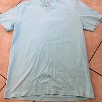 Express Men's Stretch v-Neck Aqua T-Shirt Medium Photo