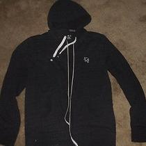 Express Men's Sz L Gray Cotton Blend Full Zip Hooded Sweatshirt  Photo