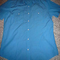 Express Men Size L Fitted Blue Button Front Shirt Photo