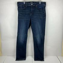 Express Men Slim Dark Denim Straight Stretch Tough and Durable Jeans Size 38x34 Photo