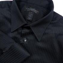 Express Mens 14.5 Small 33.5 French Cuff Dress Shirt Stylish Black Luxurious Photo