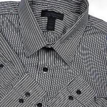 Express Mens 16.5 Large 35 Casual Dress Shirt White Black Stripe Stylish Luxury Photo