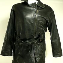 Express Mens Black Leather Jacket Thinsulate Insulated Wraparound Belt  Sz Sm Photo