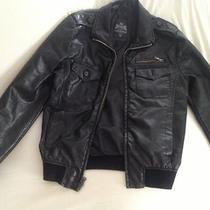 Express Mens Black Leather Motorcycle Jacket Size Small Photo