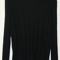 Express Mens Black v Neck 100% Cotton Ribbed Long Sleeve Sweater Medium M Photo