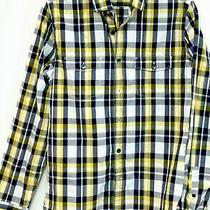 Express Mens Black/yellow Cotton  L/sleeve Shirt W/ Cargo Pockets Xs/tp Photo