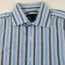 Express Mens Cotton Classic Fit Ls Button Down Blue Striped Shirt S French Cuffs Photo