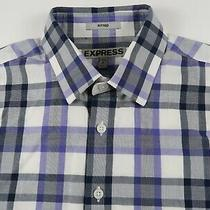 Express Mens Cotton Fitted Ls Button Down Black Blue Plaid Dress Shirt S 14-14.5 Photo