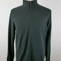 Express Mens Cotton Long Sleeve 1/4 Zip Solid Dark Gray Pullover Sweater Medium Photo