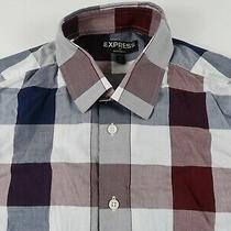 Express Mens Cotton Modern Fit Ls Button Down Navy Maroon Plaid Shirt S 14-14.5 Photo