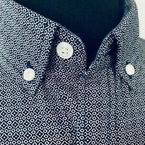 Express Mens Cotton Stretch Flex Shirt Blue Medium Slim-Fit Geo-Print 70 Nwt Photo