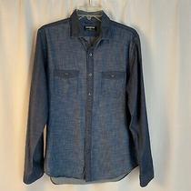 Express Mens Denim Color Button Front Long Sleeve Shirt Sz Medium Eb130 Photo
