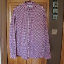 Express Mens Extra Slim Fit Plaid Button Dress Shirt Sz L 16-16.5 Burgundy Mint  Photo