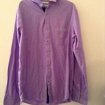 Express Mens Fitted Purple Button Down Dress Shirt Size M 15-15.5 Euc Photo
