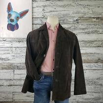 Express Mens Four Button Genuine Leather Blazer Suede Jacket Brown Size Small Photo