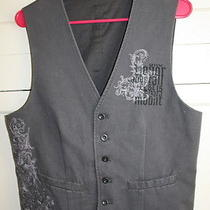 Express Mens Gray Graphic Vest Size Small 100% Cotton  Photo