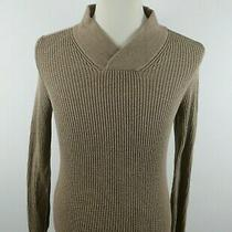 Express Mens Knit Cotton Long Sleeve Shawl Collar Solid Tan Sweater Size Xs Photo