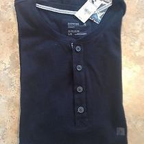 Express Mens L Cotton Jersey Solid Black Cotton Short Sleeve Shirt Nwt 34 Photo