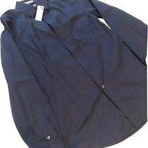 Express Mens L/s Button Down Dress Shirt Navy Blue Size Xs Extra Slim Fit Photo