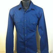 Express Mens L/s Solid Blue Western Pearl Snap Button Down Shirt Sz L Euc Photo