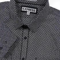 Express Mens Large Casual Sport Shirt Stylish Black White Diamond Print Luxury Photo