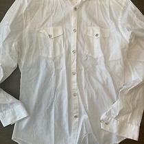 Express Mens Large Fitted Long Sleeve Button Front Casual Dress Shirt White Photo