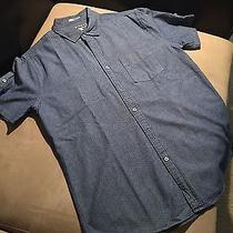 Express - Mens - Light Blue - Polka Dot - Collared Shirt - Size Large Photo