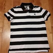 Express Mens Medium Black and White Striped Rugby Polo Photo