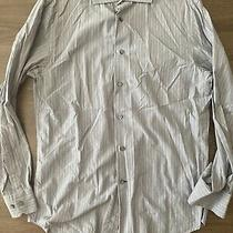 Express Mens Medium Fitted Long Sleeve Button Front Casual Dress Shirt Gray  Photo