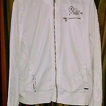 Express Mens Motorcycle Minus the Leather Spring Jacket White L Screenprint Photo