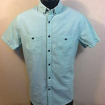 Express Mens S/s 100% Cotton Solid Green Button Down Shirt Size S Euc Photo