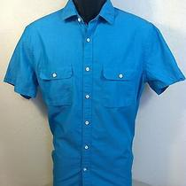 Express Mens S/s 100% Cotton Solid Teal Button Down Shirt Size M Euc Photo