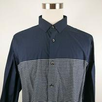 Express Mens Sheer Fitted Ls Button Down Navy Striped Dress Shirt Xl 17-17.5 Photo