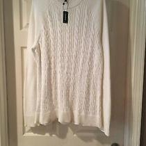 Express Mens Size Xl  White Cotton Sweater Sweatshirt Long Sleeve Crew Neck New Photo
