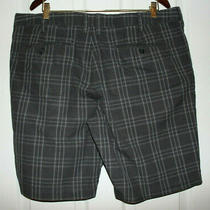 Express   Mens Slim Fit   Dark Gray Plaid Cotton Shorts Size 38 Photo