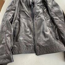 Express Mens Soft Faux Leather Ls Full Zip Brown Moto Style Coat Jacket Medium Photo
