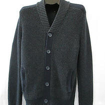Express Mens Sweater Cardigan M Cable Knit Blue v Neck  Photo