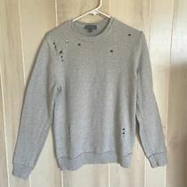 Express Mens Trendy Holes Design Light Gray Sweater Size M- 100% Cotton Photo