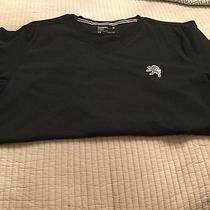 Express Mens v-Neck in Black With White Lion T- Shirt in Large Photo