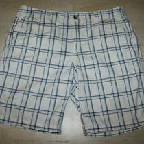 Express   Mens White Plaid Cotton Shorts Flap Pockets Size 38 Photo